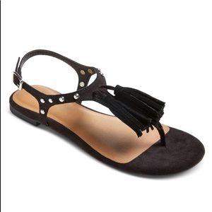 Mossimo Black Suede Fringe Studded Sandals 8.5